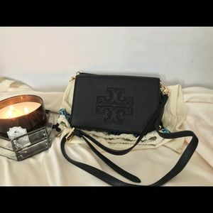Black Leather Tory Burch Cross Body